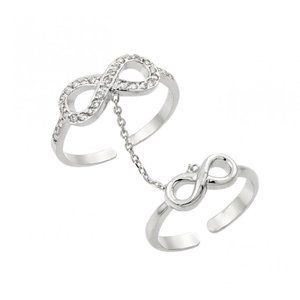 Silver 925 Clear CZ Infinity Knuckle Slave Ring